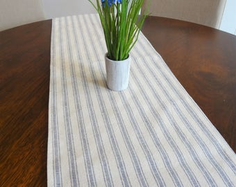 Denim Blue and Linen Beige Ticking Stripe Farmhouse Table Runner Dining Room Decor by HomeLiving 12x54