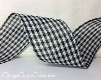 "Wired Ribbon, 2 1/2"" Black and White Check Gingham Plaid - TEN YARD ROLL - ""Great Gingham 3 Black"" Wire Edged Ribbon"