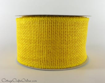"CLEARANCE!! Burlap Wired Ribbon, 2 1/2"" Yellow  Natural Jute, Imperfect - NINE & 1/3 YARDS - #707299 Craft Wire Edged Ribbon"