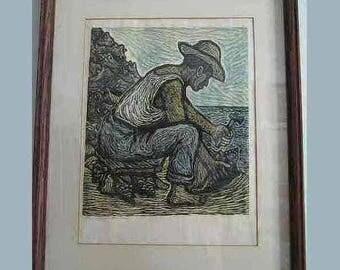 """Francisco Luna Color Linocut Woodcut Limited Edition Print """"Pescador de Caracoles"""" Signed & # 31/50 Mexican Artist Taller de Grafica Popular"""