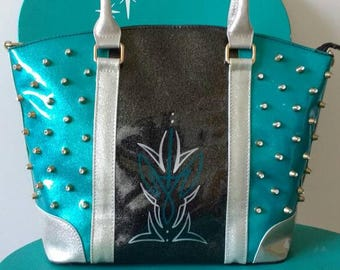 Black and Teal Glitter Patent Leather Hot Rod Purse