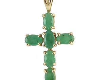 Vintage Emerald and Yellow Gold Cross, Circa 1970s