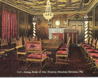 Sarasota, Florida, John Ringling Museum, Dining Room - Vintage Postcard - Unused (F1)