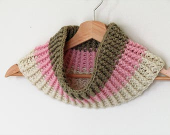 Chunky ribbed cowl - organic wool - neopolitan - strawberry, vanilla, chocolate - pink, white, brown