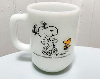 Vintage 1960s White Milk Glass Fire King Snoopy/Woodstock Peanuts Mug- Life is Pure Joy