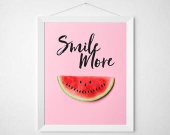 Watermelon Quote Print - Smile More - pink pastel positive fruit food pun funny typography poster wall art kitchen dorm modern laugh melon