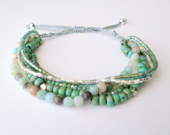 Amazonite Beaded Bracelet - Multi Strand Adjustable Bracelet