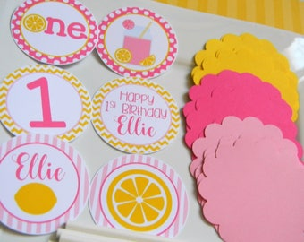 Pink Lemonade DIY Cupcake Toppers Kit - Pink Lemonade Party Decorations - Lemonade Cupcake Toppers - Set of 12