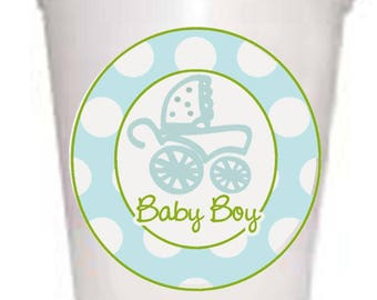 Boy in Baby Carriage with Polka Dots Styrofoam Cups 10ea/16oz