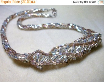 MEGA CLEARANCE Great Gatsby Style Beaded Bridal Necklace - Peach, White, and Antique Rose