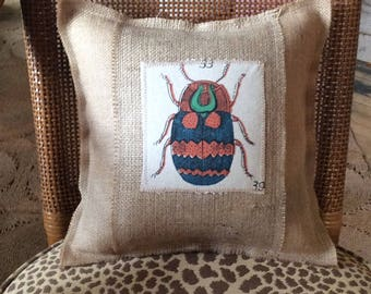 "Bug on Burlap Rustic Accent Pillow 12"" decorative"