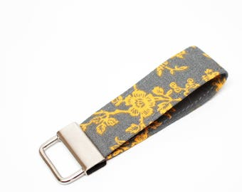 Yellow and Gray Key Chain / Key Fob / Wristlet - Choose the lenght