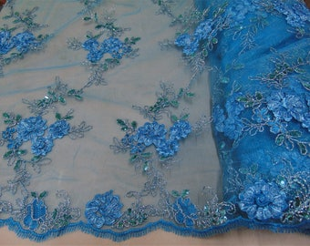 "Turquoise Floral Ribbon Embroidery Metallic and Sequin Lace Fabric on Mesh Perfect for Dresses, Prom, Accessories, Table Design, 50"" Wide"