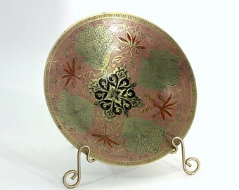 Small Painted Brass Bowl   Decorative Brass Bowl Wide Shallow   Muted Colors: Pink Green Black Gold Orange