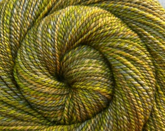 Handspun Yarn, Worsted weight - SPRING FOLIAGE - Hand-dyed Blue Faced Leicester / Silk, 185 yards, green weft yarn, gift for knitter