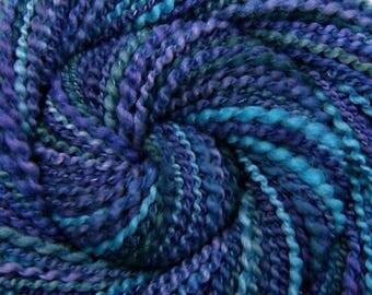 Handspun Art Yarn Duo - A MAGNIFICENT TALE - Hand-dyed Polwarth / Tussah Silk, Textured Art Yarn, 136 yards, blue purple handspun yarn