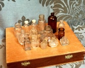 Miniature Bottle Lot, Bottle Collection, Mini Vintage Bottles, Glass Bottle Collection, Vintage Glass, Clear Glass, Brown Amber Glass, Ink