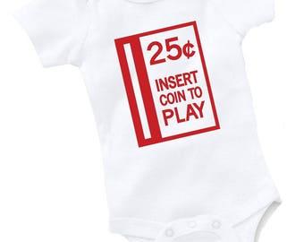25 Cents Gaming Bodysuit Baby Shower Gift Funny Boy Girl Arcade Gamer Video Game Geek Nerd Cute Quarter One Piece Onepiece Sleeper Romper