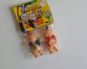 Vintage Pig Toys, Plastic Anthropomorphic Pigs