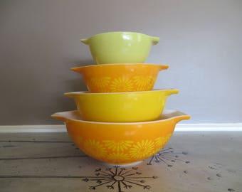 Vintage Daisy Pyrex Cinderella Bowls Orange and Yellow Pyrex Mixing Bowls Stacking Bowls Baking Bowls