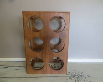 Vintage Teak Wine Rack Wine Storage Shelf Wooden Wine Holder Kustom Kraft