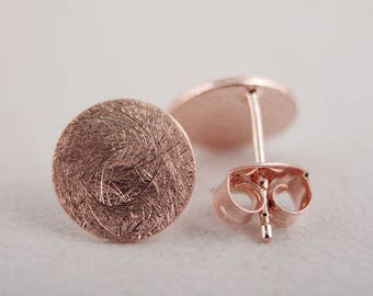 Rose Gold Geometric Circle Stud Earrings, Brushed Rose Gold Metal, Simple Jewelry, Minimal Earrings