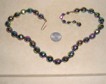 Vintage Signed Austria Iridescent Glass AB Choker Necklace 1960's Jewelry 10043