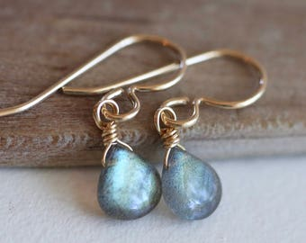 Gold Labradorite Earrings, Blue Fire Flashy Labradorite Earrings in 14K Gold Fill gemstone earrings Labradorite Dangle Wire Wrapped Earrings