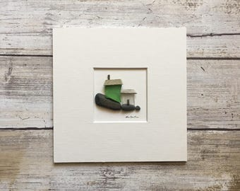 Original Pebble Art 5 by 5 Mini unframed Pebble Picture by Sharon Nowlan, matted sea glass and pebble art coastal decor