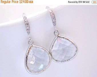 SALE Glass Earrings, Crystal, Clear Earrings, Dainty, White, Silver, Bride Earrings, Bridesmaid Earrings, Bridal Earrings, Bridesmaid Gifts