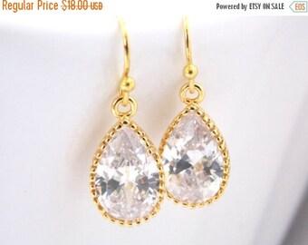 SALE Wedding Jewelry, Glass Earrings, Crystal Earrings, Clear, Gold, Bridesmaid Earrings, Bride Earrings, Bridal Earrings, Bridesmaid Gifts