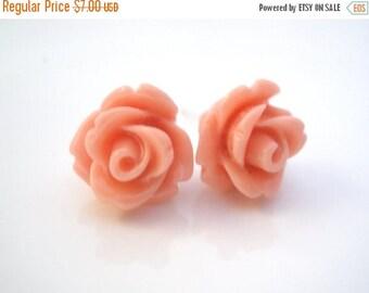 SALE Peach Earrings, Peach Stud Earrings, Pink Earrings, Salmon, Peach Rose Earrings, Flower Earrings, Bridesmaid Earrings, Bridesmaid Gifts