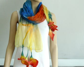 Nuno Felted Shawl, Silk wool scarf - hand-felted and hand painted  scarf, felted flowers, colorful scarf