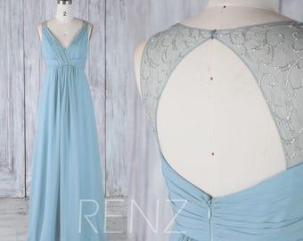 2017 Dusty Blue Chiffon Bridesmaid Dress Empire, V Neck Wedding Dress, Illusion Open Back With Bead, A Line Prom Dress Floor Length(H501)