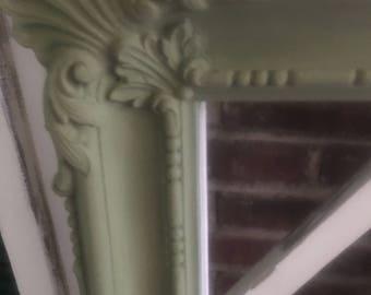 Vintage mirror, tan, green or white, baby nursery wall decor