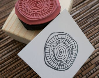 Swirl Circle Mounted Rubber Stamp