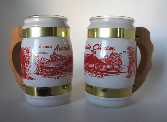 Fiesta Ware Memorabilia Souvenir Barrel mugs The Famous Ausable Chasm New York  Mid Century Beer Mug Glasses set of 2