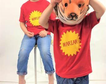 Kids Clothes Wariar Red T-shirt Welsh Text Yellow Ink