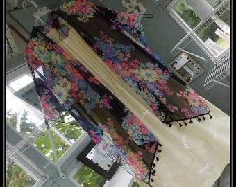 Free Domestic Shipping-PATSY-One size,Boho Robe, Chiffon,Shawl,Boho Kimono,Bed Jacket,3/4 length sleeve,floral print.Nightgown not included.