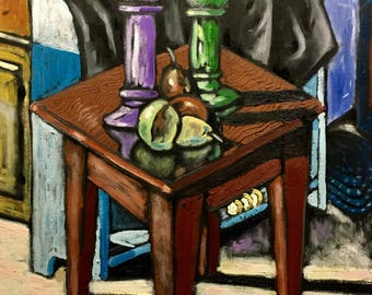"""Original Expressionist Oil Painting Still Life """"Fruit And Candlesticks"""" 17x22"""