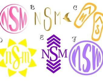 Monogram Vinyl Stickers 12 options