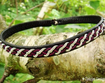 Viking Choker Collar NIFLHEIM Black Leather Sami Necklace with Black and Pewter thread braided with Magenta cord - Customized Norse Jewelry