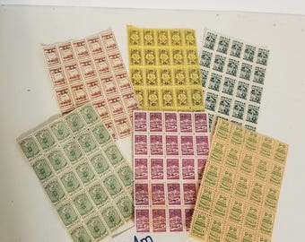 m Vintage paper supplies 6 sheets with 150 trading savings stamp sample pack green gold yellow purple scrapbook altered art