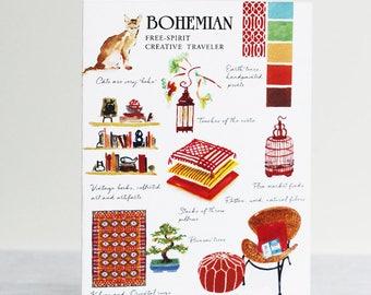 Boho or Bohemian Interior Design Style Greeting Card
