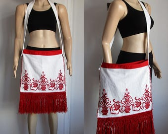 Embroidered bag Vintage Boho Shoulder Bag Fringed bag Large Bag Cotton Bag Ethnic Fabric Purse  White Red Bag Hippie Purse gift for her bag.