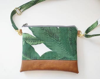 Banana leaf hipster with cognac faux leather