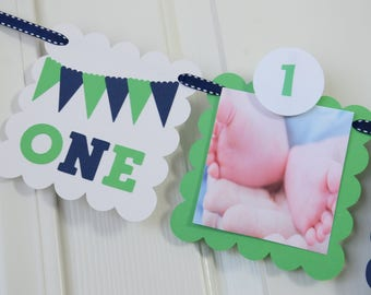 ONE 12 Month Photo Banner, First Year Photo Banner, First Year Banner, Navy Blue and Green , 5 x 5 Scallops, c-1323