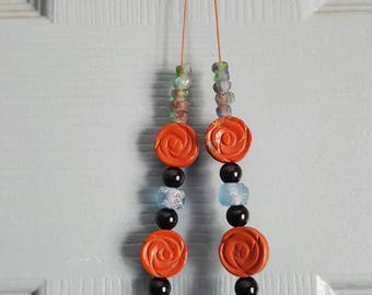 Red Jasper rose necklace, handmade necklace, Ghana glass bead necklace