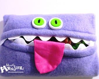 Kleenex Kreature; Tissue Holder; Pocket Tissue; Travel hankie;  back to school; purse pal; tissue cover; lavender tissue monster