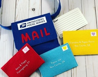 Postal worker etsy pretend play mailman letters and cards personalized mail negle Images